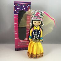 "Chinese 7""H Handmade Collectible Minority Nationality Miniature Wooden Doll NEW!"