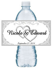 50 PERSONALIZED SILVER HEARTS WEDDING WATER BOTTLE LABELS  Waterproof Ink
