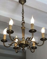Antique Vintage French Gilt Bronze Chandelier 6 Arm Ceiling Light