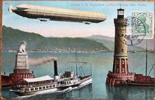 Zeppelin 1910 German Aviation Postcard: Luftschiff Uber dem Hafen - Airship
