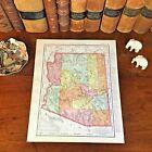 Large Original 1898 Antique Map ARIZONA Phoenix Tucson Tempe Mesa Surprise Yuma