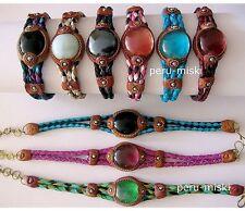 14 LEATHER BRACELETS GEM GLASS STONE Peruvian Jewelry
