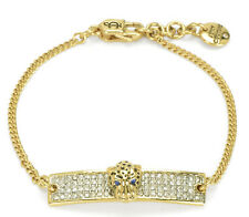 NWT Juicy Couture Black Label Gold Leopard Crystal ID Bracelet WJW636
