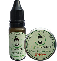 Conditioning Beard Oil 15ml & Strong Hold Moustache Wax 15ml Styling, Growth