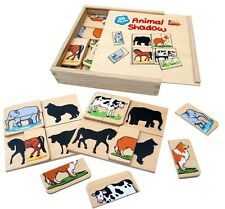 Wooden Educational Toy 'Animal Shadow' Game with 4 Boards and 16 Animals