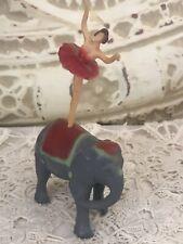 Vintage Bergen Toy Elephant With Ballerina On Back Plastic
