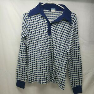 Vintage 70s Sears Put-On Shop Mens White and Blue Rockabilly - Medium