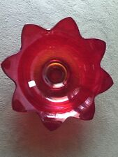 Collectible MidCentury 1930-40s FENTON Ruby Red/Amberina Glass Star Serving Bowl