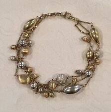 14k Gold Triple Strand Bauble Bracelet Marked B ESTATE SALE