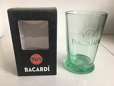 BOXED BACARDI RUM MOJITO GLASS - BAT EMBOSSED GREEN TUMBLER
