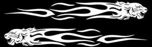 2Pcs Tiger Flame Totem Car Motorcycle Creative Decals Stickers Reflective WHITE