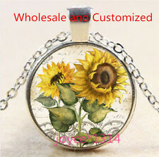 Sunflower Cabochon Silver/Bronze/Black/Gold Glass Chain Pendant Necklace #5176