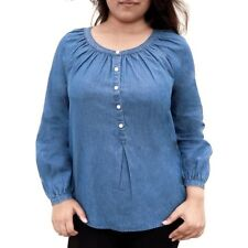 Faded Glory Women's Popover Blue Denim Shirt Size 8-10 Medium, 16-18 XL