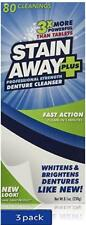Stain Away Plus Denture Cleanser, 8.1-Ounce Each (Pack of 3) Free Priority Ship