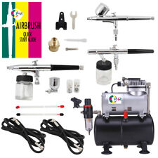 OPHIR 3-Airbrush Kits with Air Tank Compressor for Hobby Temporary Tattoo Makeup