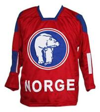Custom Name # Norge Norway Retro Hockey Jersey New Red Skroder Any Size