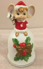 """Vintage Christmas Mouse holding candy cane ceramic Bell 4.5""""H (#2)"""