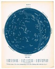 ANTIQUE PRINT VINTAGE ASTRONOMY CONSTELLATIONS STAR BLUE 1876 CHART THE SKY #4