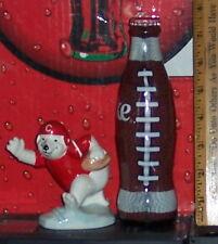 Coca - Cola Ceramic Polar Bear Figurine Football Player & A Glass Footbal Bottle