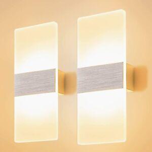 2x LED Wandleuchte Innen 12W Modern Lampe Warmweiß Wandlampen für Schlafzimmer