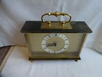 Vintage Staiger Brass & Marble Mantle Clock1980`s Germany Height 16 cm x 22 cm