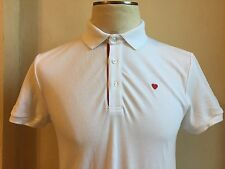 Moschino Cool White Red Embroidered Heart and Placket Signature Polo T Shirt M