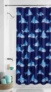 Sharks Ocean Fish Fabric Shower Curtain Bath Kids Child Bath Decor Navy Blue