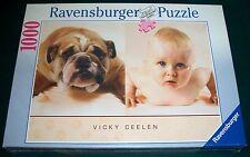 "Ravensburger 1000 pc ""Push Ups"" Bulldog Baby Jigsaw Puzzle - Vicky Ceelen - MISB"