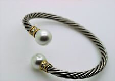 B337 Exquisite Design white pearl Crystals End Tips Cuff Fashion Bracelet