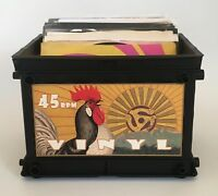 Rooster Style Mini Record Crate for 45 rpm's / Great for your 45s (Holds 75)