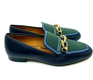 Tory Burch NEW Jessa 20MM Leather Recycled Navy Green Knit Loafer Chain Link