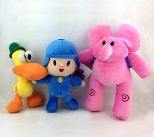 """3X Pocoyo Plush Toy Boy Elephant Elly Duck Pato Stuffed Animal Soft Doll 9""""-11"""""""