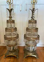 Pair 2 French Antique Gilt Bronze Fountain Waterfall Tiered Crystal Table Lamps
