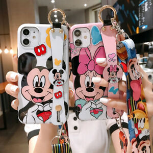 Disney Minnie Mickey Donald Soft Strap Stand Case Cover for iPhone 12 11 Pro Max