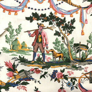Carnival Toile French Cotton Fabric | Double Width | Curtain Upholstery