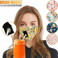 Floral Women Protective Cotton Blend Face Mask Drinking with Hole for Straw USA