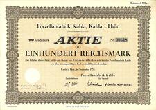 Aktie Porzellanfabrik Kahla 100 RM 1935 Kahla in Thüringen