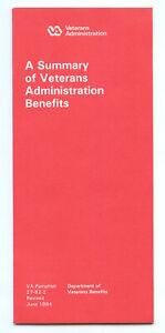 VA A Summary Of Veterans Administration Benefits Vintage 1984 Booklet