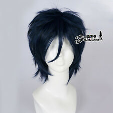 Anime Short Dark Blue Layered Basic Fashion Fancy Cosplay Hair Wig + Wig Cap