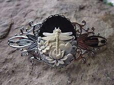 DRAGONFLY CAMEO SILVER FILIGREE BARRETTE - HANDMADE - black - WEDDING, BRIDAL