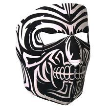 Black White Tribal Mask Neoprene Full Face Mask Biker ATV Ski Costume Reversible