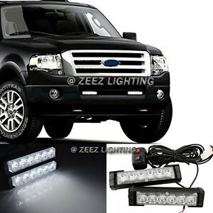 Hi-Power White 12 LED Emergency Hazard Flash Warning Beacon Strobe Light Bar C03