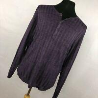 New John Varvatos Collection Sweater Purple Linen Lightweight Button Men $298 L1