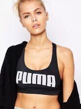 New Womens Puma YOGINI Large Logo Crop Top Sport Bra Dry Cell Black XXL UK 18