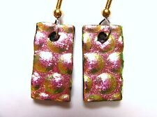 EARRINGS LARGE DANGLE PINK & GOLD TEXTURED Dichroic Fused Glass LJG&AAG #219