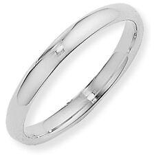 Argentium Silver Court Wedding Ring Band 3mm Size L Full UK Hallmarks