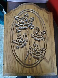 Vintage Handmade Solid Wood Key Holder Cabinet Box Door Wall Mount Carved Roses