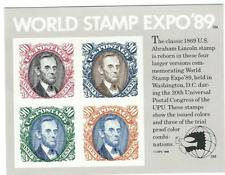 Scott #2433...90 Cent... Lincoln...Souvenir Sheet of 4 (World Stamp Expo '89)