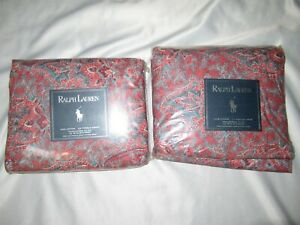 NWT Ralph Lauren Venice Meredith Paisley Red Cal. King Fitted & Flat Sheet set