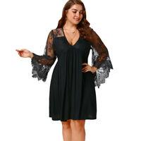 Ladies XL-5XL Lace Panel Bell Sleeve Empire Waist Dress Plus Size Tunic Dress